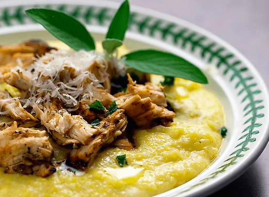 Polenta with Shredded Chicken, Fontina, and Sage Butter Sauce