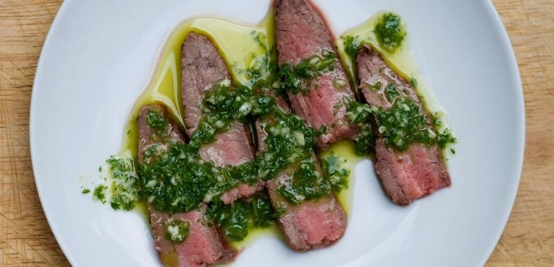 easy steak with chimichurri sauce