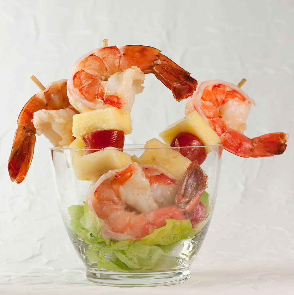 shrimp and pineapple kebabs