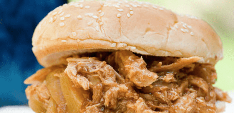 Hawaiian pulled chicken sandwiches