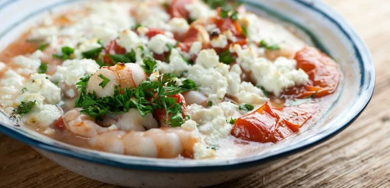 shrimp with tomatoes and feta