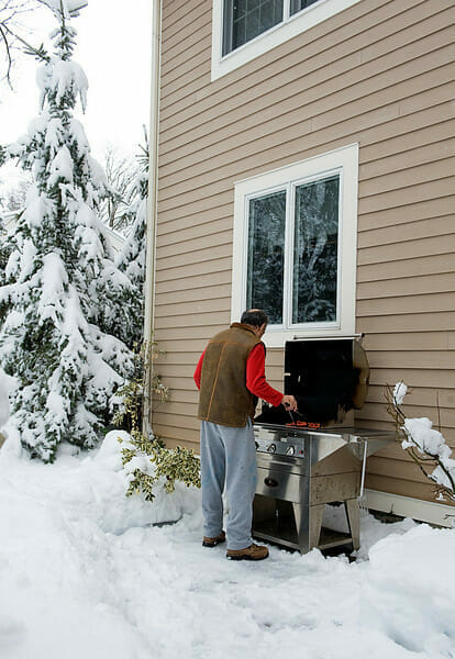 grilling in the snow