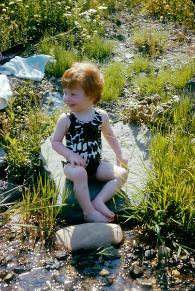 toddler in bathing suit