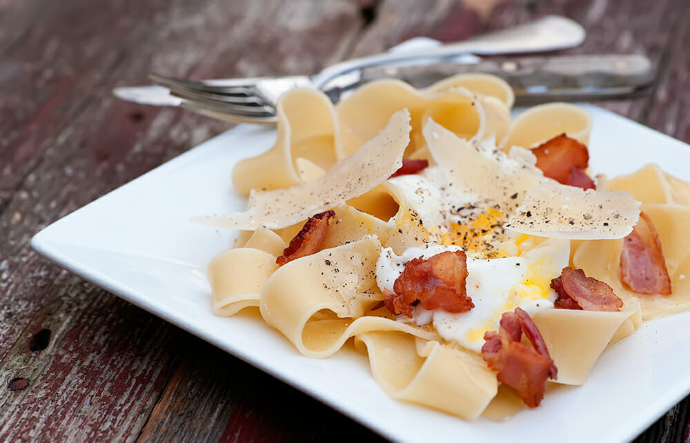 dismantled pasta carbonara