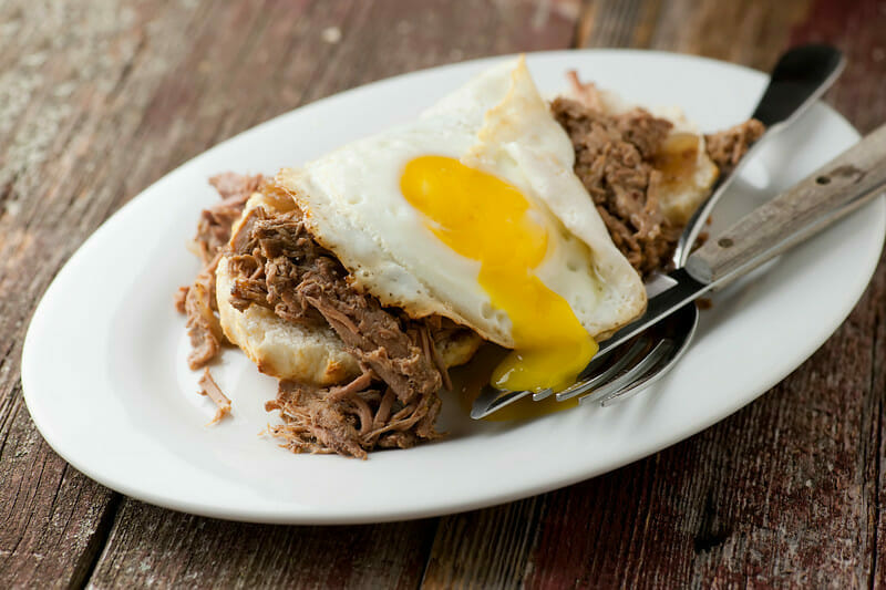 Barbecue Biscuits with Soft Fried Egg