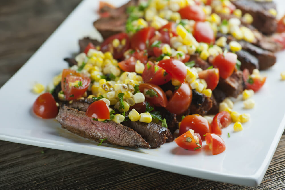 spicy steak with corn salsa