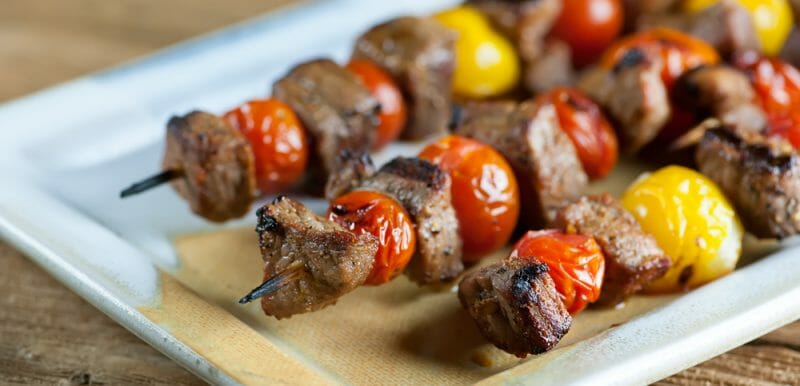 steak and cherry tomato skewers