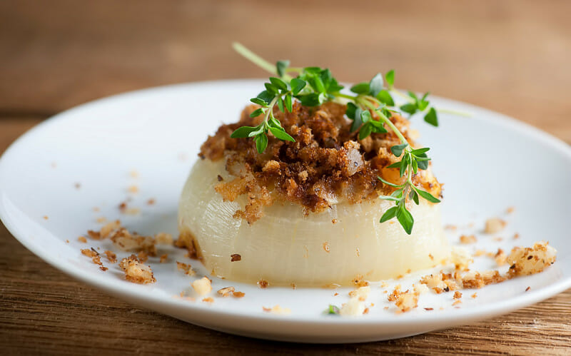 baked sweet onions with brie