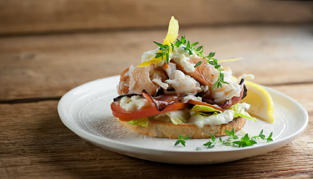 Lobster BLT sandwich with Brie