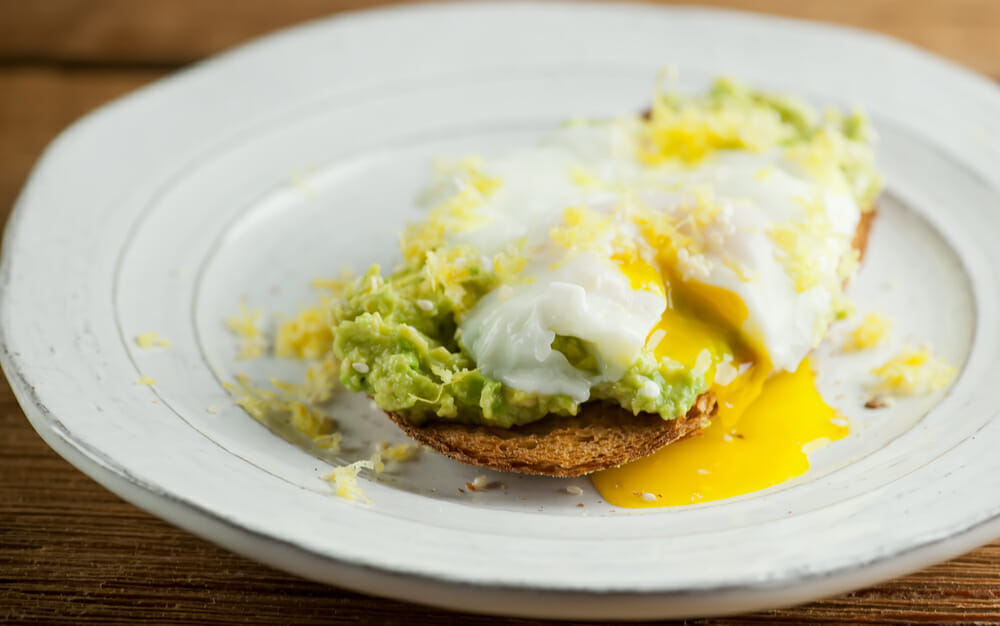 lemon avocado toast with poached egg