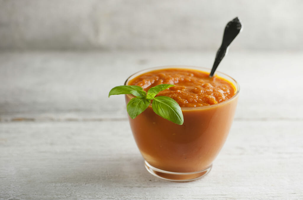 roasted carrot soup with basil leaf