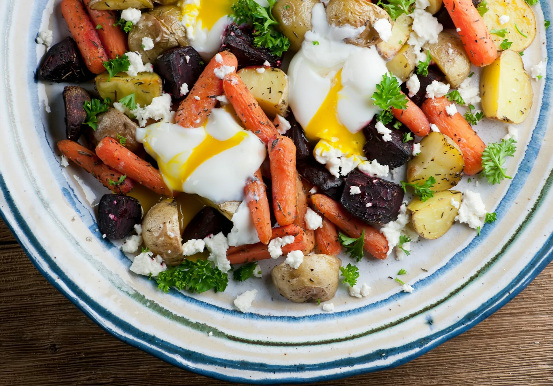 egg salad with roasted vegetables