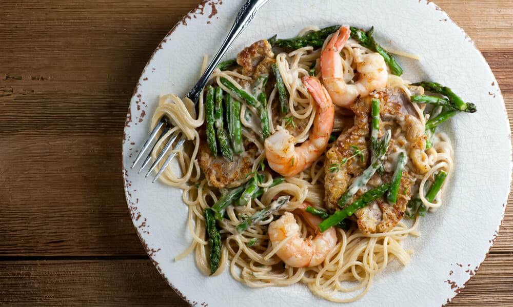 easy creamy shrimp and veal pasta