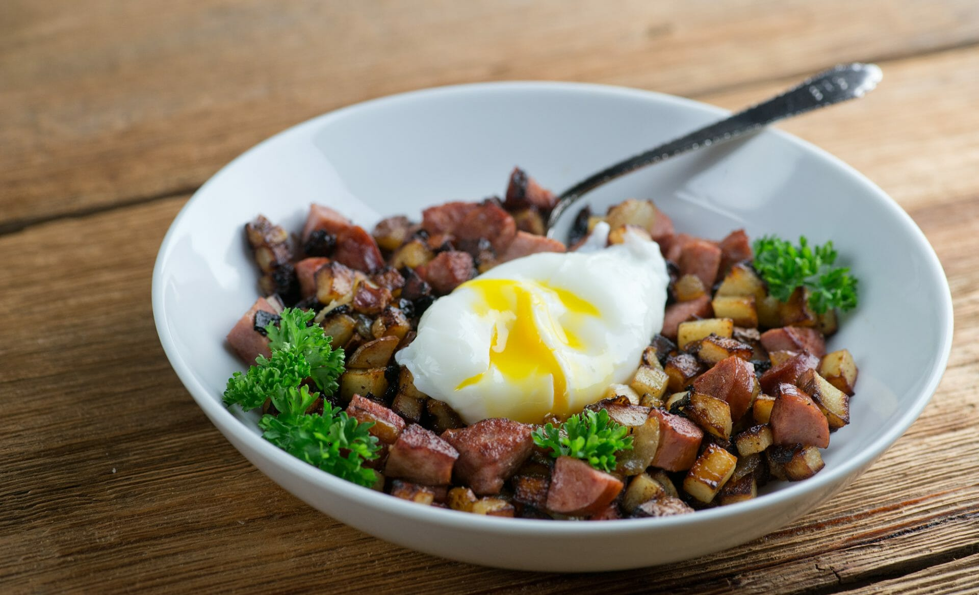 Sausage hash with poached egg