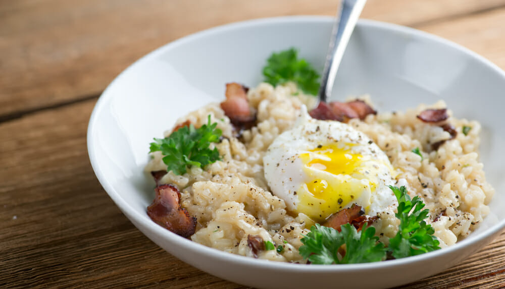 easy bacon and egg risotto