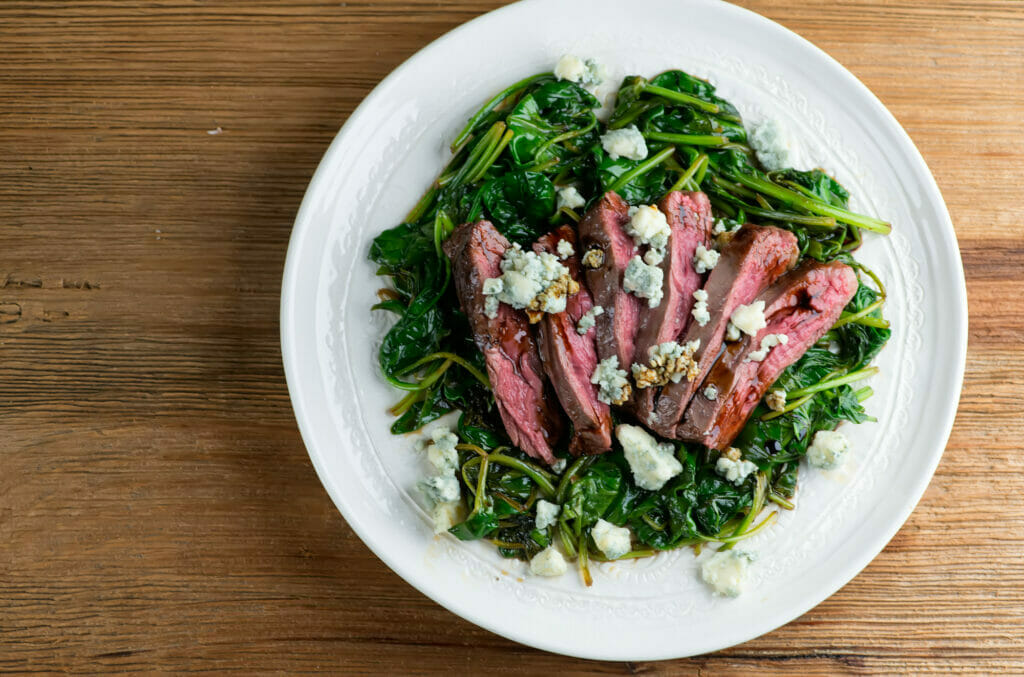 Balsamic Blue Cheese Steak With Spinach