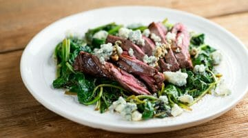Balsamic Blue Cheese Steak With Spinach recipe