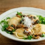 easy cheese ravioli with toasted walnut sauce