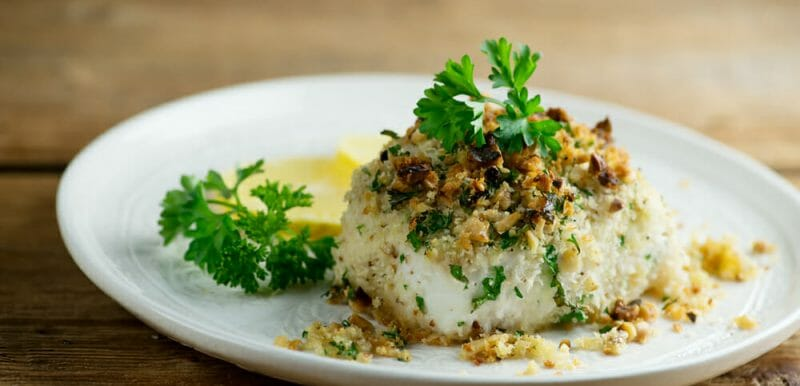 easy walnut crusted halibut