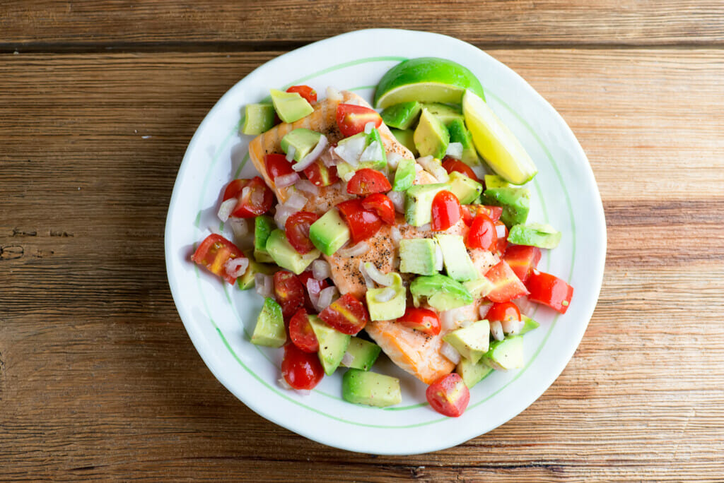 roast salmon with avocado salsa