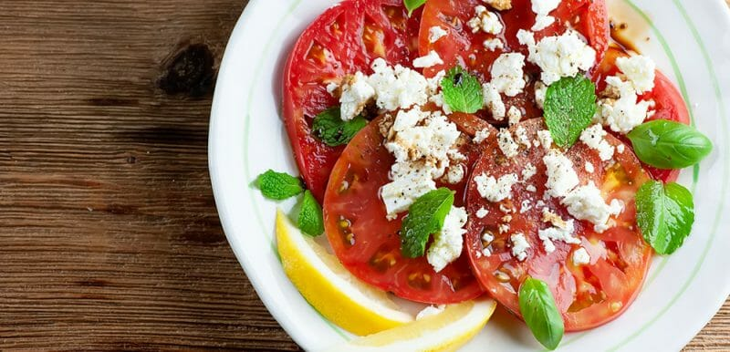 easy summer tomato salad with feta and herbs