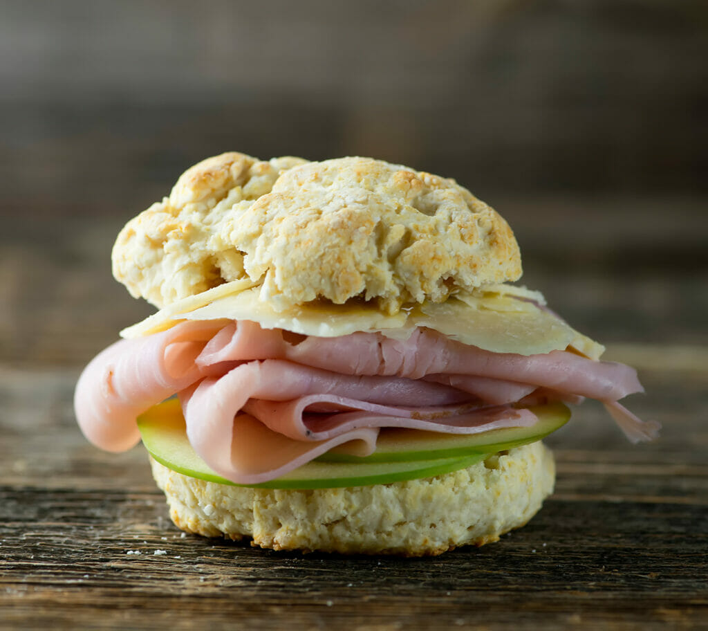 ham cheese and apple biscuit sliders