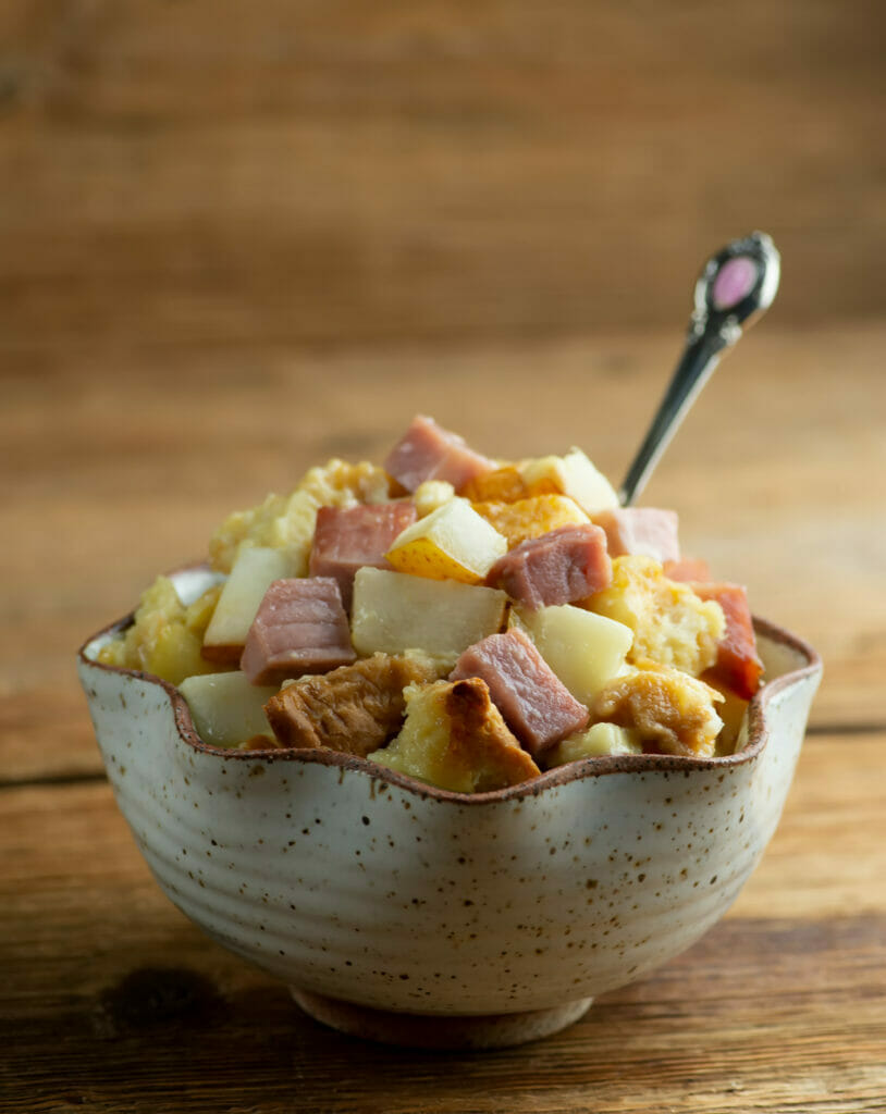 Ham Brie and Pear casserole