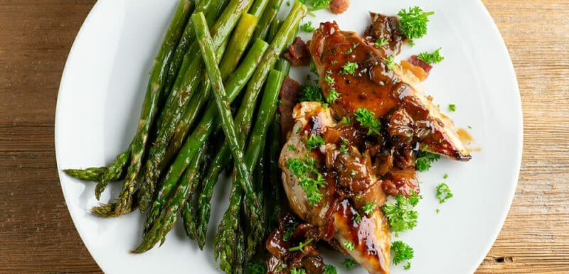 chicken with bourbon bacon sauce